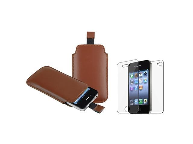 Brown Pull Leather Pouch Case Cover+LCD Guard Protector compatible with iPhone 4 G 4S