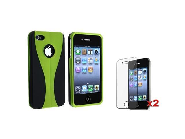 Green/Black 3 Piece Hard Cover Case+2x Screen Pro compatible with iPhone 4 4S 4G 16G 32G 64G