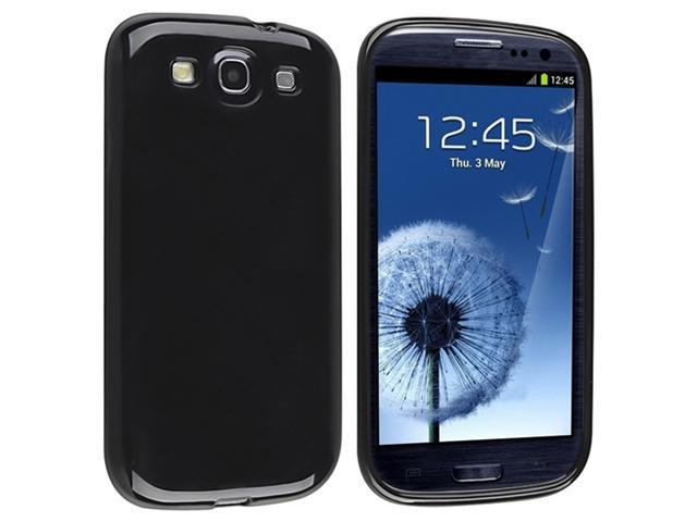 Black TPU Rubber Case + Clear Reusable Screen Protector + Stylus Pen compatible with Galaxy S III i9300