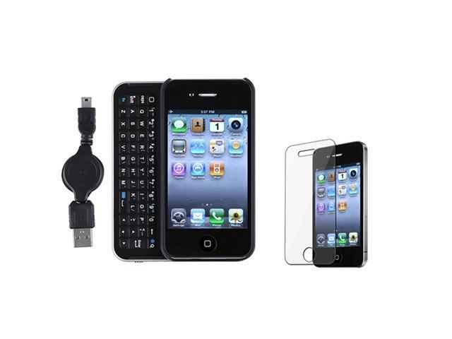 Sliding Bluetooth Keyboard with USB Cable Case Cover+LCD Guard compatible with iPhone 4 4S