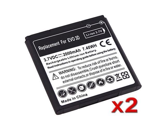 NEW 2x Standard Li-Ion BATTERY 2000mAh For HTC EVO 3D