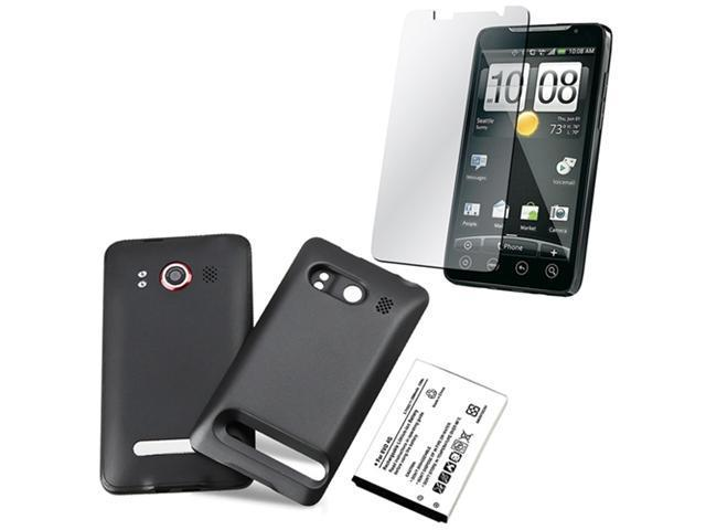 3500mAh Replacement Li-ion battery+Back Case+LCD Protector Film For HTC EVO 4G