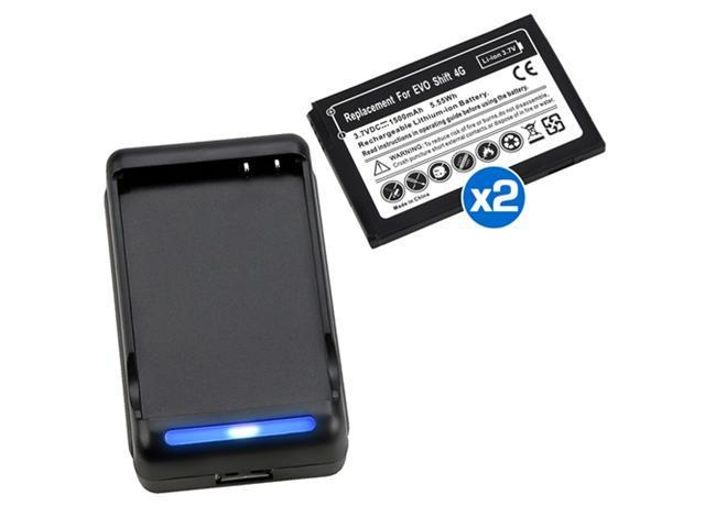 2X 1500mAh Replacement Battery+Dock Charger For Sprint HTC EVO Shift 4G