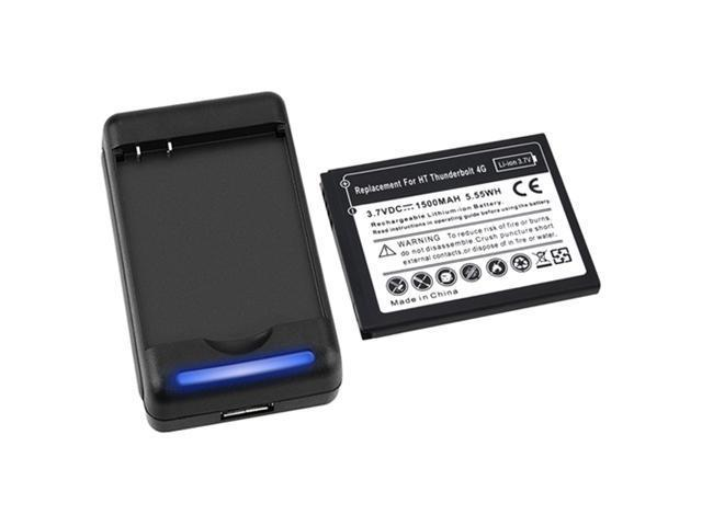 Insten Black For HTC ThunderBolt 4G Desktop Pod Dock Charger+Li-Ion Replacement Slim Battery 647176
