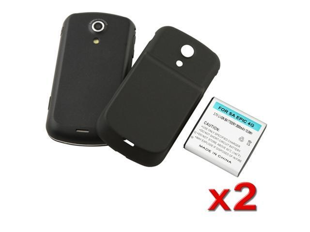 2X NEW 3500 MAH LI-ION EXTENDED BATTERY+BLACK COVER compatible with Samsung© Epic 4G SPH-D700