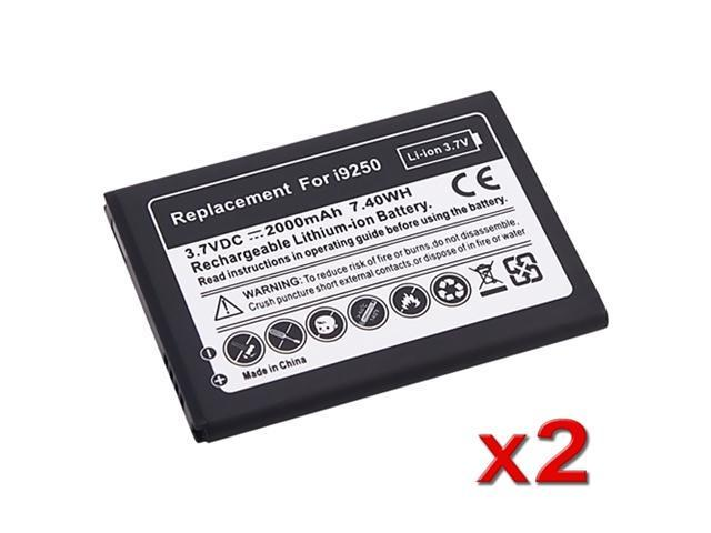 Insten Black 2000mAh 2 New 2000mAh Replacement Lithium Battery Compatible with Samsung Galaxy Nexus GSM I9250 653743