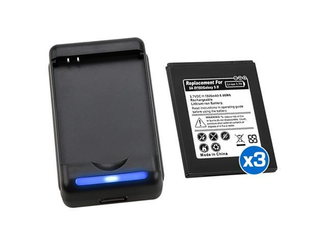 Insten Black 3x 1800mAh Li-Ion Battery+Desktop Dock Charger Compatible with AT&T Samsung Galaxy S 2 I777 648151