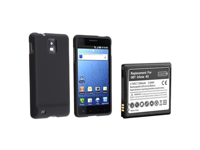 Black Rubber Hard Cover Skin Case+Li-lon Battery compatible with Samsung© Infuse 4G AT&T New