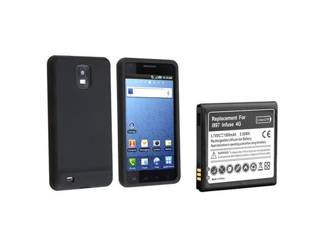 Black Soft Gel Silicone Skin Case+Li-lon Battery compatible with Samsung© Infuse 4G i997 AT&T