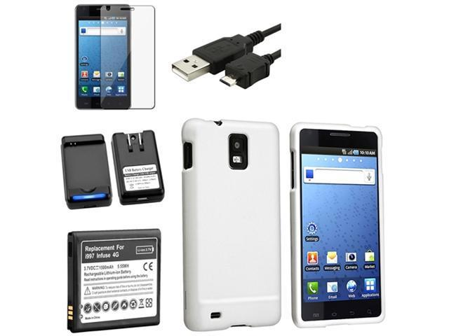 Insten Black Battery+Dock Charger+White Hard Case+USB Cable+LCD SP Compatible with Samsung Infuse I997 4G