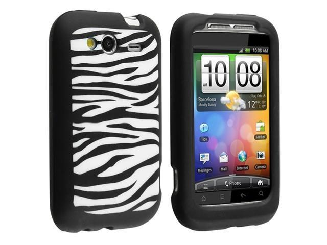 Black / White Zebra Silicone Skin Case with Reusable Screen Protector compatible with HTC Wildfire S