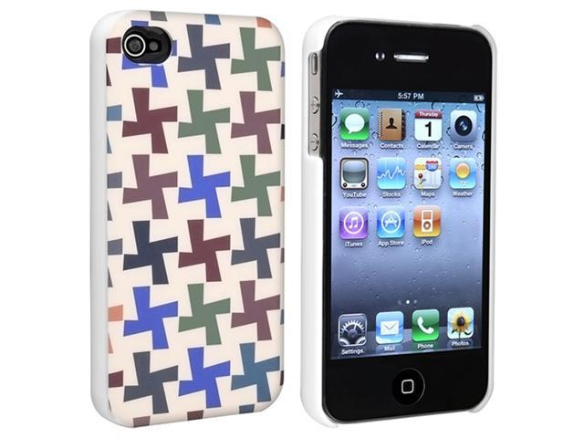 Colorful Cross Pattern Snap-on Hard plastic Case + 3D Diamond Blink LCD Covercompatible with Apple® iPhone® 4 / 4S