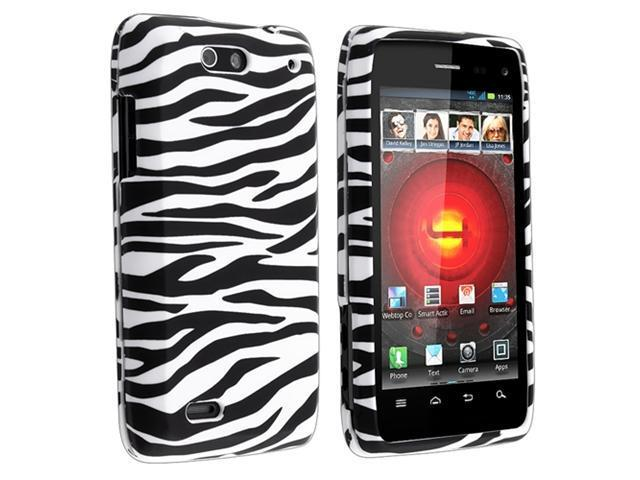 Black / White Zebra Snap-on Rubber Coated Cover Case with Reusable LCD Screen Protector compatible with Motorola Droid 4