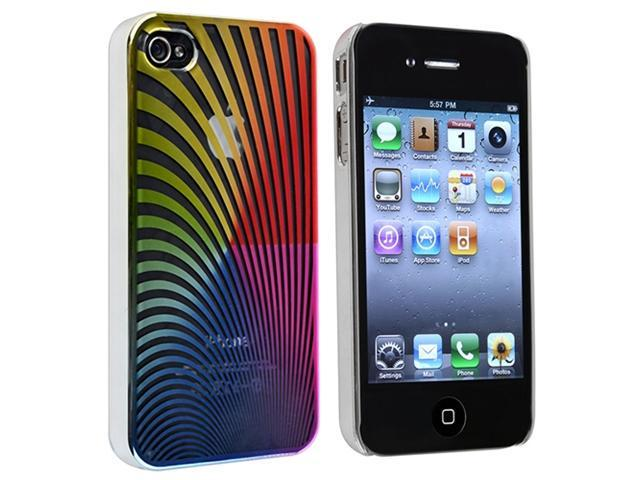 Rainbow Swirl Snap-on Case with Reusable Screen Protector compatible with Apple® iPhone® 4 / 4S