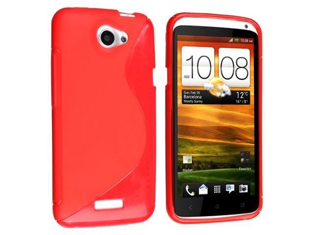 Red S Shape TPU Rubber Skin Case + Clear Reusable Screen Protector compatible with HTC One X