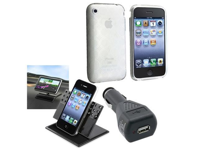 Clear Circle Hard Case Cover+Charger+Car Mount Holder compatible with iPhone® 3 3G 3GS