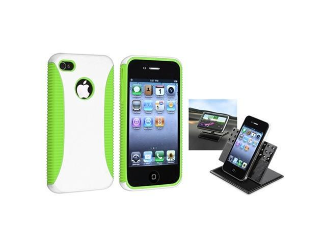 Green TPU/White Hard Case Skin Cover+Car Dashboard Mount compatible with iPhone® 4 4th 4G 4S