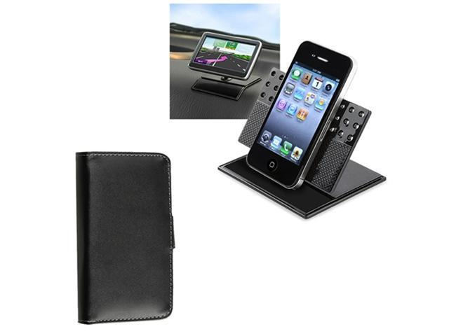 Black Wallet Leather Pouch Case+Car Dashboard Holder compatible with iPhone® 4 4G 4th 4S