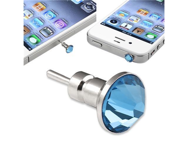 10 X Blue DIAMOND DUST CAP PLUG 3.5mm HEADPHONE compatible with iPhone® 4 4G 4S