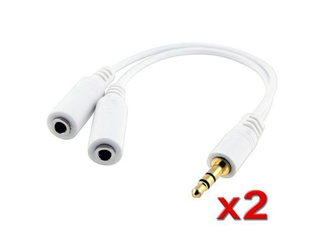 2 Headset Splitter Adapter 3.5mm compatible with iPhone® 3GS 4 iPod touch® iPod Nano® Video Zune MP3