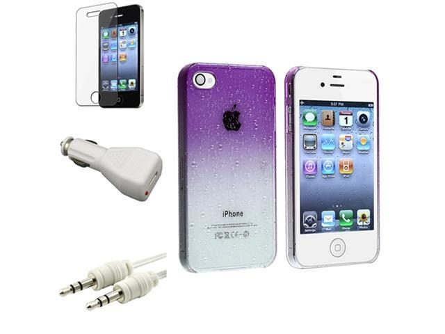 Clear Purple Waterdrop Case+Film+3.5mm Cable+Car Charger For iPhone® 4 4G 4th 4S