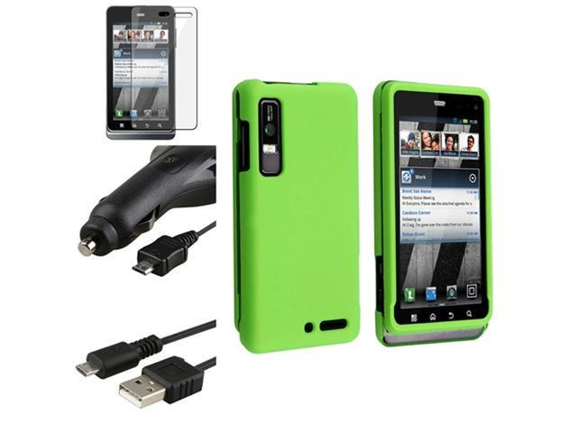 Neon Green Phone Case+Film+Retract Car Charger+Cable compatible with Motorola Droid 3 XT862