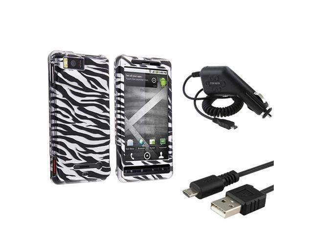 compatible with Motorola Droid X MB810 Zebra Case+Car Charger+Cable