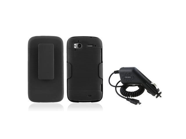 compatible with T-Mobile HTC Sensation 4G Black Holster Belt Clip+Rubber Hard Case+Charger