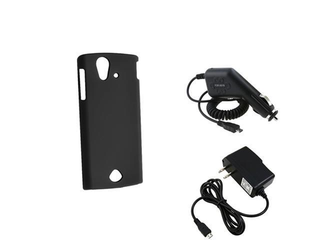 Black Hard Rubber Skin Case+Car+Home Wall Charger compatible with Sony Ericsson Xperia Ray