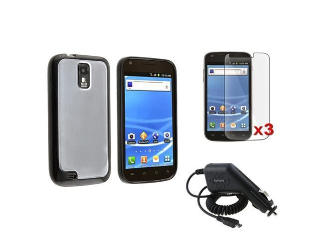 Clear Black TPU Trim Gel Case+3 Pro+Charger compatible with Samsung© Galaxy S2 T989 T-Mobile