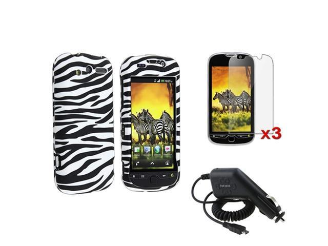 Black White Zebra Hard Case+3 LCD Pro+Car Charger compatible with T-Mobile HTC Mytouch 4G