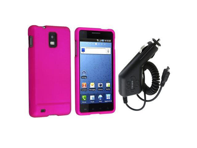compatible with Samsung© Infuse 4G Phone Pink Hard Case+Car Charger