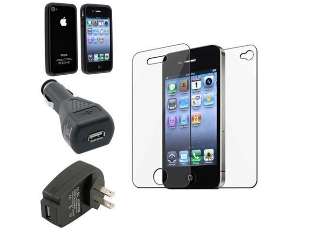 for iPhone® 4 4S 4G 4GS G BLACK TPU CASE+LCD FILM+CAR+HOME CHARGER