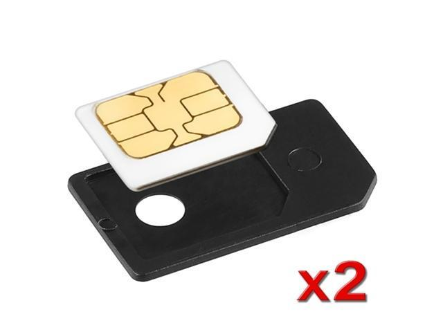 2x Black Small Mini Micro Sim Card Adapter Converter For iPhone® 4 4S 4GS 4th Gen