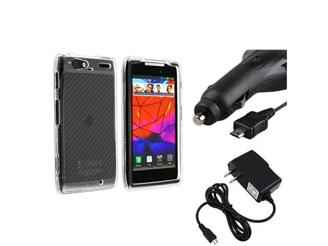 Clear Hard Skin Case+Retract Car+Home Charger compatible with Motorola Droid RAZR Maxx XT916
