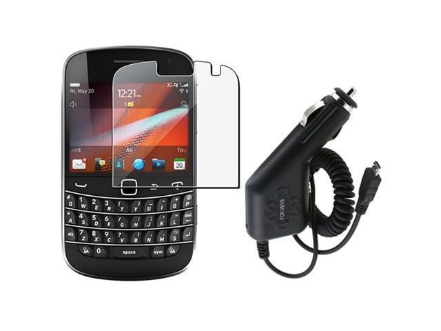 Screen LCD Film Guard+Micro USB Car DC Charger compatible with Blackberry Bold 9900 9930