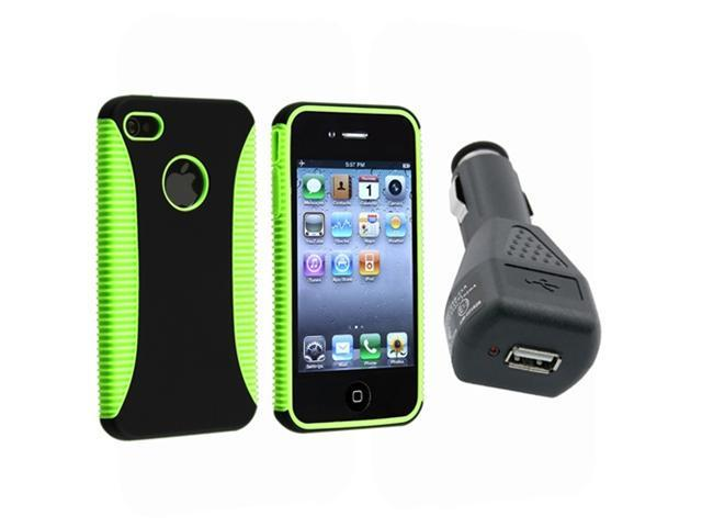 Hybrid Green TPU/Black Case Hard Cover+In Car Charger For iPhone® 4 4G 4th 4S
