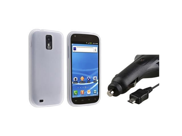 White Gel Skin Case+Retractable Car Charger compatible with Samsung© Galaxy S2 T989 T-Mobile