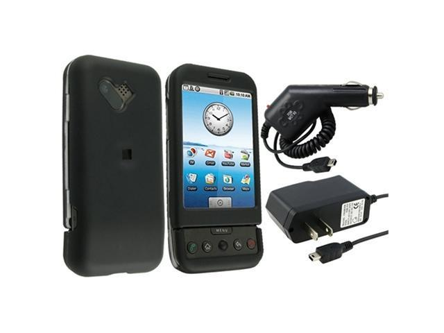 AC+CAR CHARGER+BLACK RUBBER HARD CASE COVER compatible with HTC T-MOBILE G1 GOOGLE ANDROID