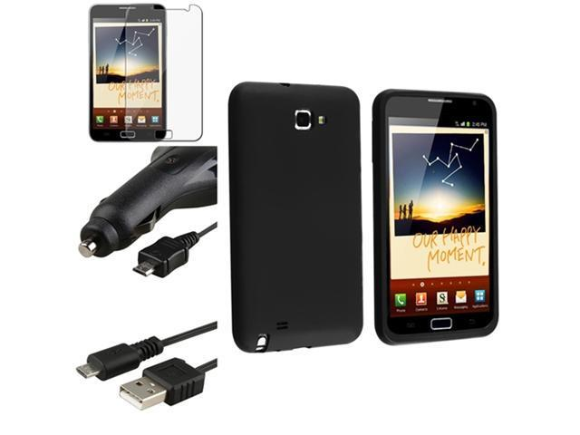 Black Rubber Case Cover+Car Charger+LCD Protector compatible with Samsung© Galaxy Note N7000