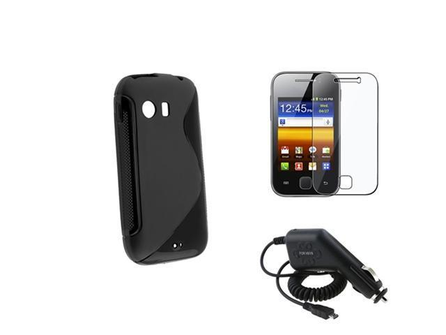 Black S Line TPU Skin Case+In Car Charger+Film Guard compatible with Samsung© Galaxy Y S5360