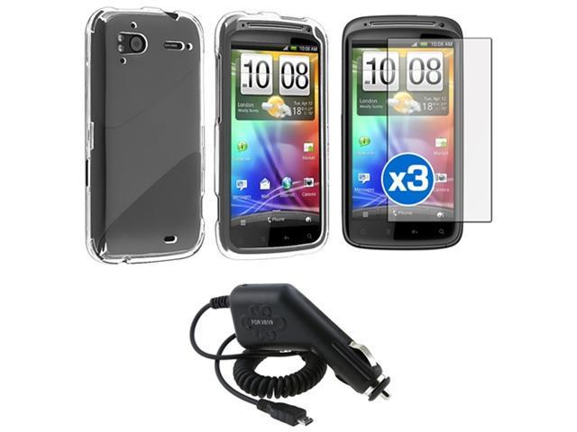 Clear Crystal Hard Case+3pc LCD Protector Guard+Car Charger compatible with HTC Sensation 4G