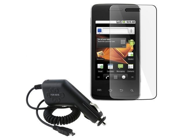 Car Charger DC+LCD Cover Guard Screen Protector compatible with Samsung© Galaxy Prevail M820