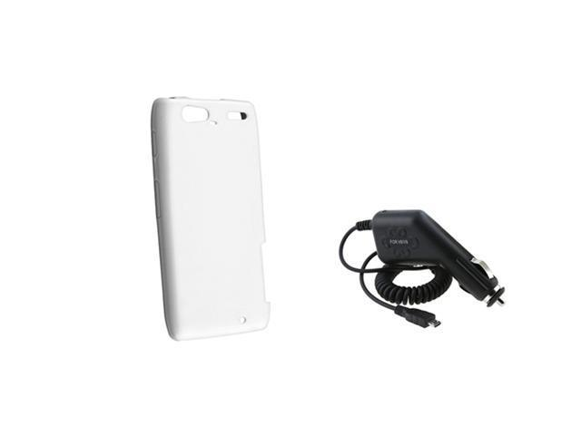 White TPU Gel Skin Case Cover+Car Charger compatible with Motorola Droid RAZR Maxx XT916