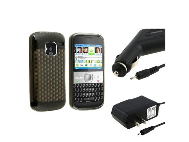 Clear Smoke TPU Rubber Soft Skin Phone Case+Car+Home Wall Charger compatible with Nokia E5
