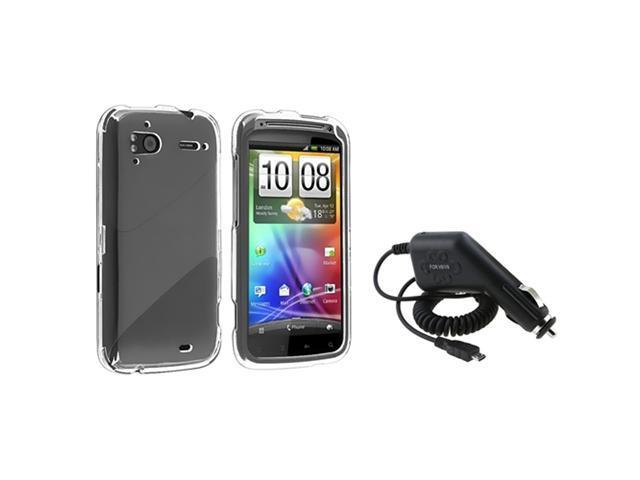 Clear Crystal Hard Phone Case Cover+Car DC Charger compatible with HTC Sensation 4G Pyramid