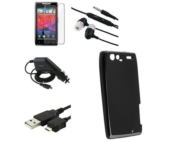 Black TPU Skin Case+LCD+Car Charger+USB+Headphone compatible with Motorola Droid RAZR Maxx