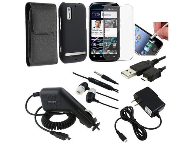 8in 1 Accessory Combo Black Hard Case Charger Cable compatible with Motorola Photon 4G MB855