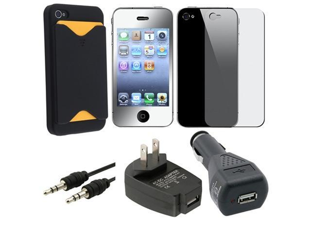 5 Accessory Holder Case Charger Pack for Verizon AT&T Sprint iPhone® 4 4th 4S 4 G