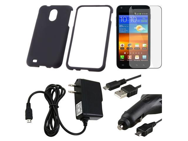 Black Rubber Hard Phone Case+Film+2 Charger+USB compatible with Samsung© Epic 4G Touch D710